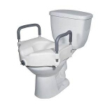 2 in 1 Locking Elevated Toilet Seat with Tool Free Removable Arms, 300 lb Weight Capacity - 1 EA