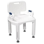 Premium Series Bath Bench with Back and Arms, 350 lb Weight Capacity - 1 EA