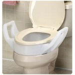 Maddak Inc Bath Safe Elevated Toilet Seat with Arms Retail Standard, 300lb, 22