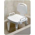 Maddak Inc Bath Safe Adjustable Shower Seat with Arms and Back Retail 300lb, 22-1/2