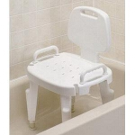 Maddak Inc Bath Safe Adjustable Shower Seat with Arms and Back Brown 300lb, 22-1/2
