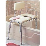 Carex ® Deluxe Vinyl Padded Transfer Bench with Cut Out and Commode Pail, 30-1/2