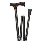 Mabis DMI Healthcare Ladies Adjustable Folding Cane with Derby-top Handle Black, 32