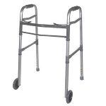 Deluxe Adult Folding Walker, Two Button with 5