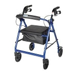 Aluminum Rollator with Fold Up and Removable Back Support and Padded Seat, Red - 1 EA