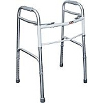 Carex Health Brands Dual-button Folding Walker without Wheels 21